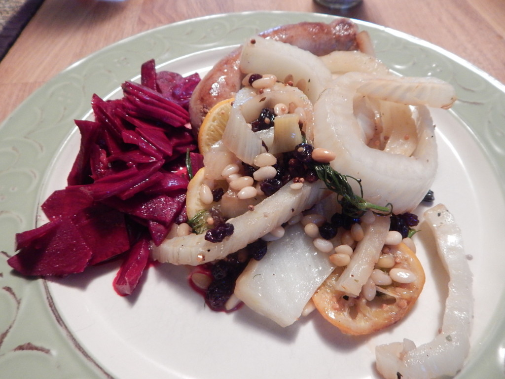 Asian Beet Salad with Fennel, Sausage, Currants Pine Nuts