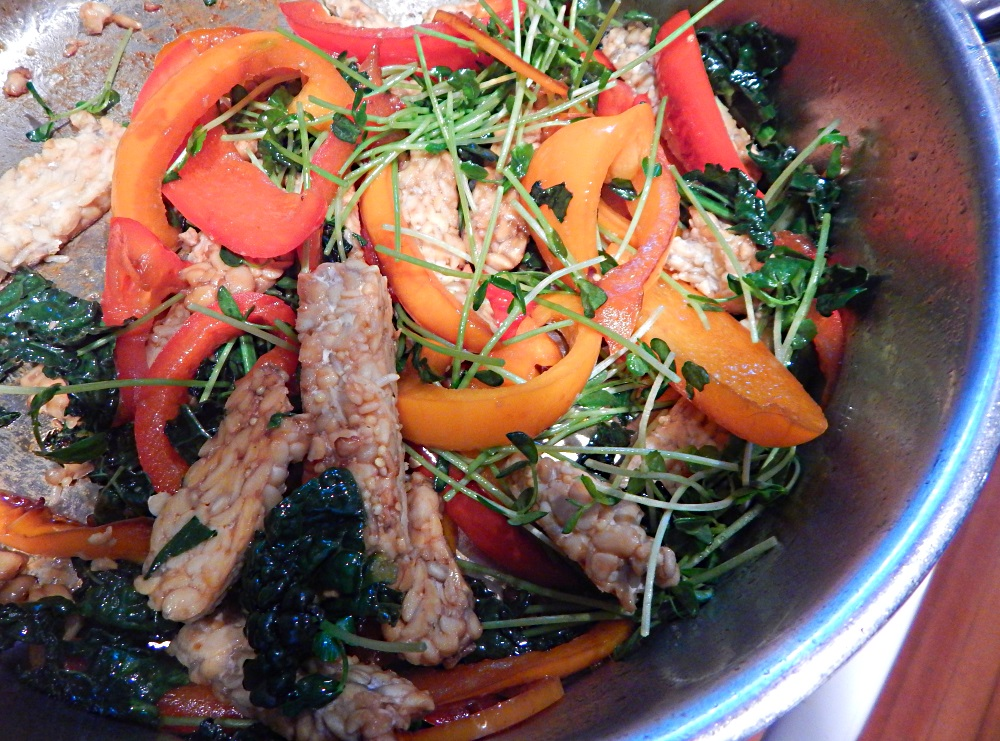 Tempeh with Peppers Kale and Pea Shoots