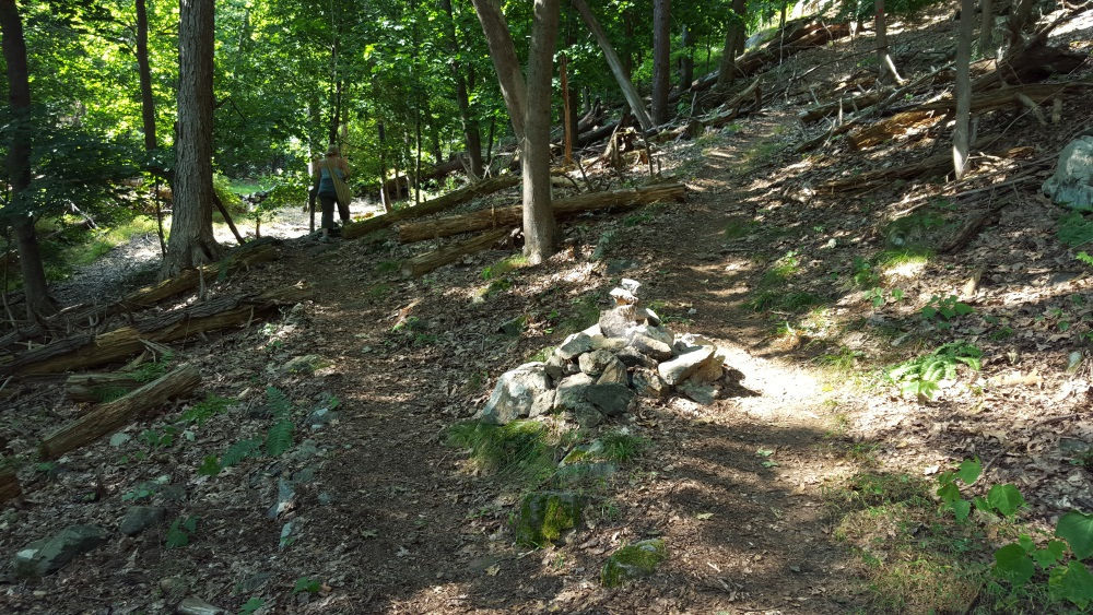 North Redoubt Trail cairn marks south trail