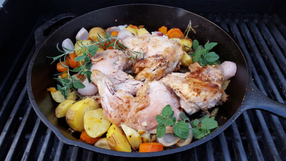 Skillet Chicken Roast on the Grill