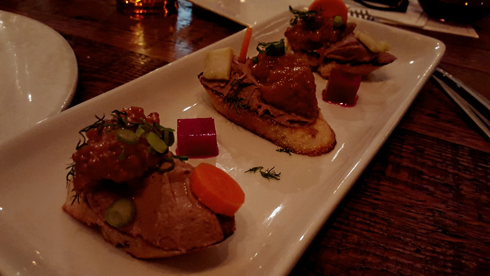 kitchen sink beacon CHICKEN LIVER TOAST Peach mostarda, bourbon rosemary caramel sauce