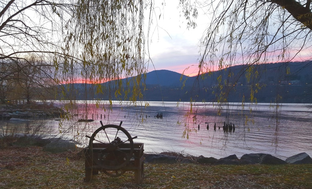 Purple Sunset on the Hudson With Ships Wheel