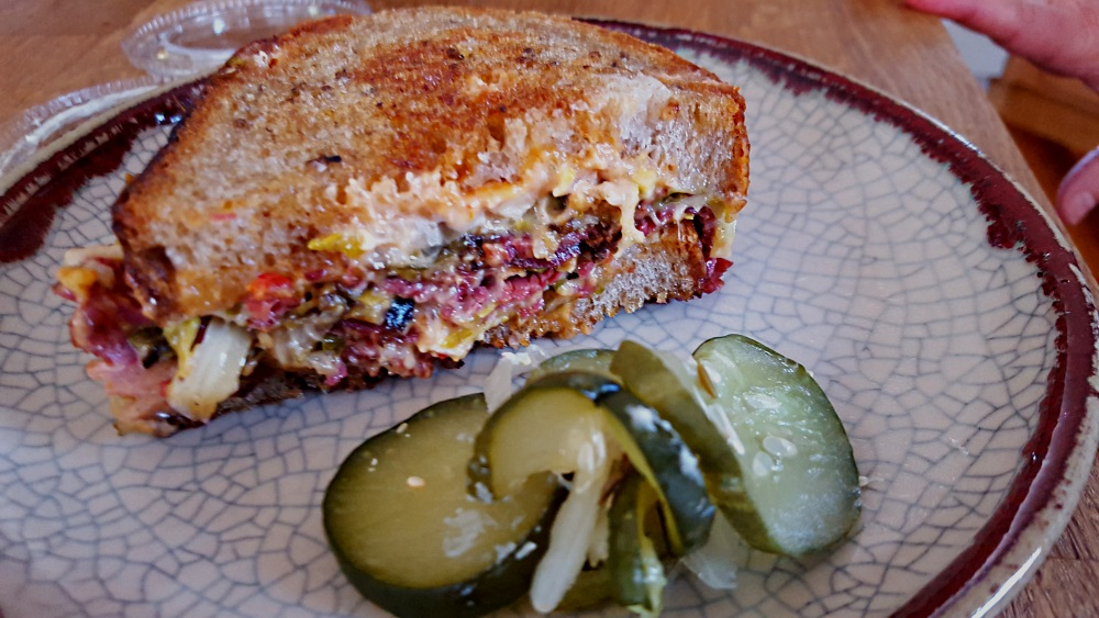 Marbled Market Stock Up Beacon NY Ruben Sandwich and Pickles
