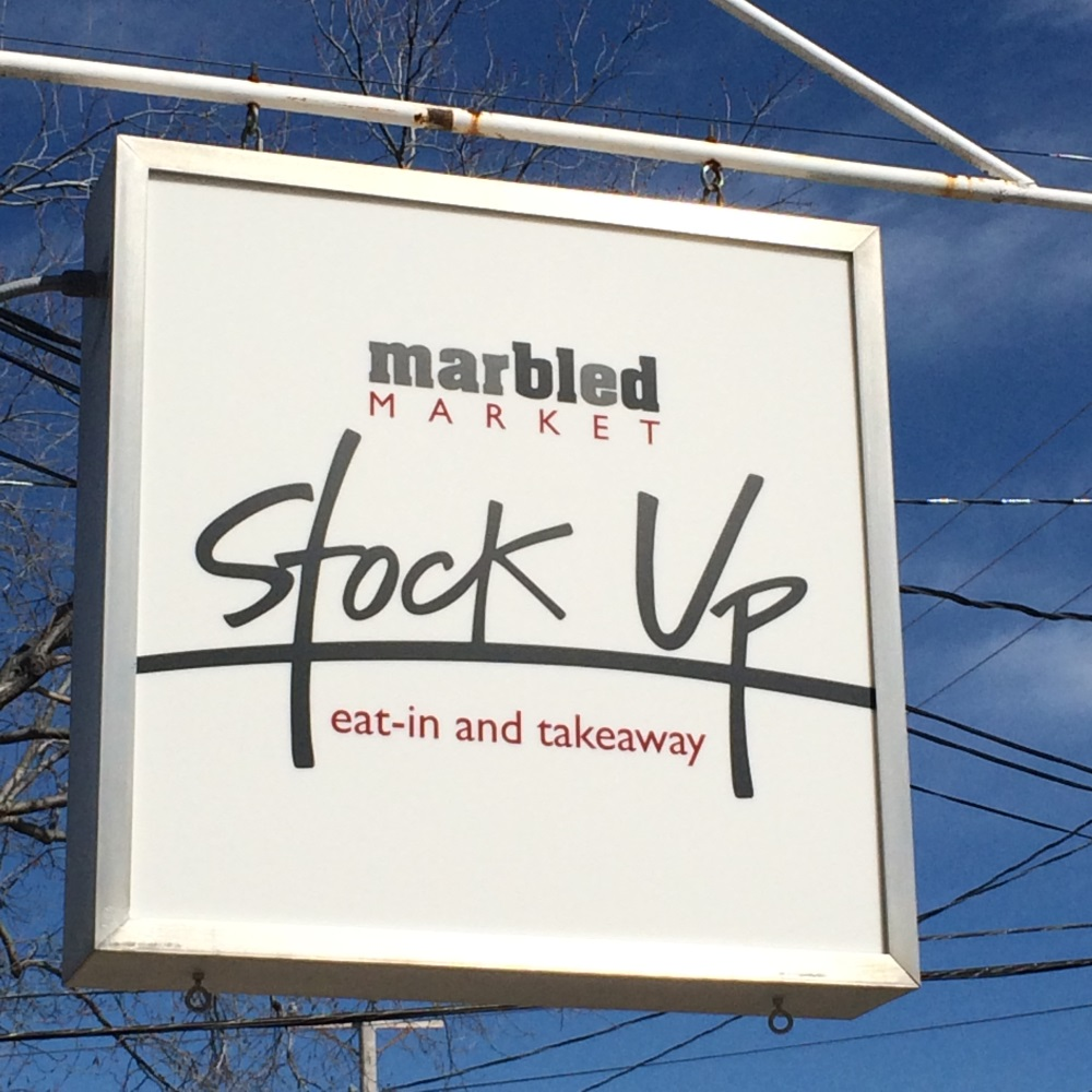 Marbled Market Stock Up Beacon NY Sign